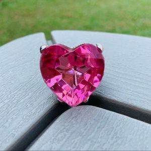 Pink heart adjustable ring